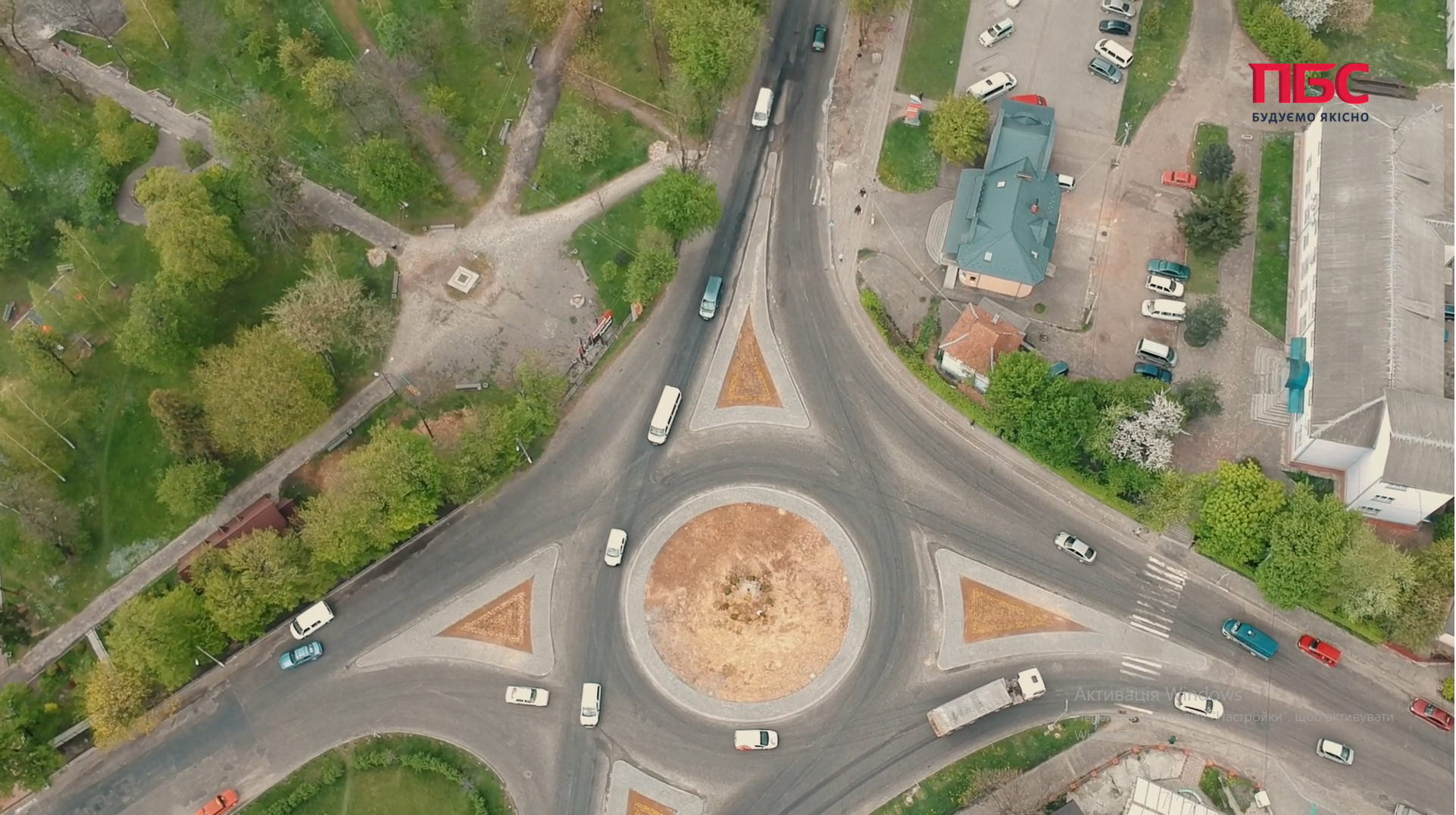 Dolyna town traffic junction aerial survey